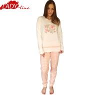Pijamale Dama Maneca Lunga, Model La Vie en Rose, Brand Italian Fashion Design, Material Bumbac 100% Interlock, Culoare Roz, Pijamale Dama Calitate 100%