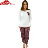 Pijamale Dama Maneca Lunga, Model Love & Flowers, Producator Fawn, Material Bumbac 100% Interlock, Culoare Rosu Burgundy, Pijamale Dama De Calitate