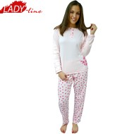 Pijamale Dama Maneca Lunga, Model Pink & Bright Flowers, Producator Dehai-T, Bumbac 100%, Culoare Roz, Pijamale Dama Maneca si Pantalon Lung