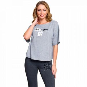 Pijamale Dama Maneca Scurta Pantalon Lung Vienetta Dream Model 'Super Girl'