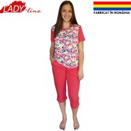 Pijamale Dama Maneca Scurta si Pantalon 3/4, Model 'Flowers & Pink World', Producator Ana Art Textil, Bumbac 100%, Culoare Roz Intens, Pijamale Fabricate In Romania