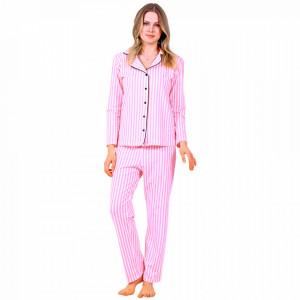 Pijamale Dama Maneca si Pantalon Lung Model 'Pink Angel'