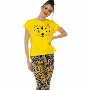 Pijamale Dama Manesca Scurta Pantalon 3/4 Vienetta Model 'Wild and Cute'