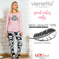 Pijamale Dama Vienetta Bumbac 100% 'Good Vibes Only'