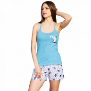 Pijamale Dama Vienetta, Bumbac 100%, 'More Fish Please'