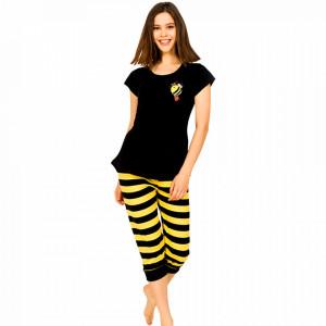 Pijamale Dama Vienetta din Bumbac cu Pantalon 3/4 Model 'Bee Happy' Black