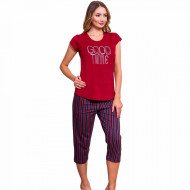 Pijamale Dama Vienetta din Bumbac cu Pantalon 3/4 Model 'Good Time'