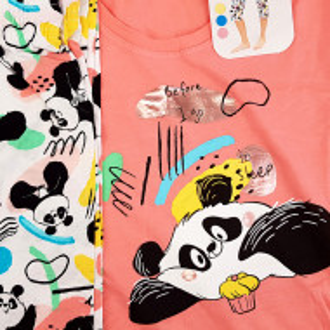 Pijamale Dama Vienetta din Bumbac cu Pantalon 3/4 Model 'Panda's Dream' Pink