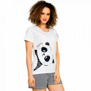 Pijamale Dama Vienetta, 'Good Mornings Panda' Culoare Alb