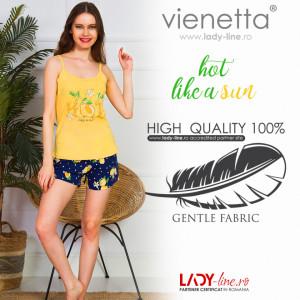 Pijamale Dama Vienetta, 'Hot Like a Sun' Culoare Galben