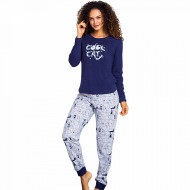 Pijamale Dama Vienetta, Model 'Cool Cat' Blue