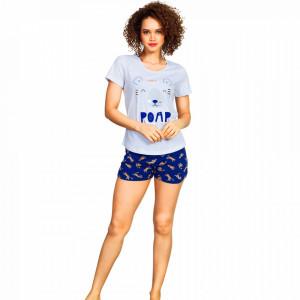 Pijamale Dama Vienetta, 'Roar' Culoare Gri/Albastru