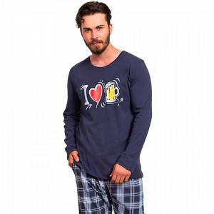 Pijamale din Bumbac Barbati Gazzaz by Vienetta 'I Love Bear' Dark Gray