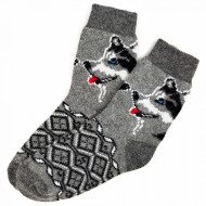 Sosete Calduroase din Lana de Oaie Naturala, Model 'Winter Dogs' Gray