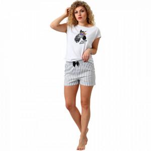 Pijamale Dama M-Max, Bumbac 100%, 'Sawanna Dreams' White