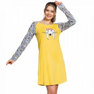 Camasa Dama din Bumbac cu Maneca Lunga Vienetta, Model 'Doggy Trend' Yellow