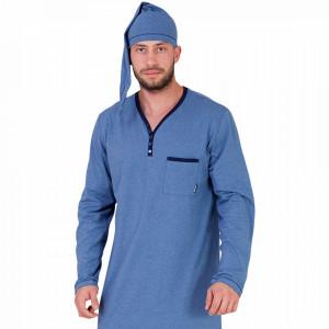 Camasa de Noapte Barbati cu Capison M-Max, Model Blue Moon