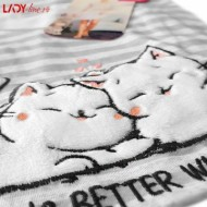 Camasa de Noapte Vienetta Secret, 'Life is Better with Cats' Gray