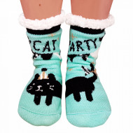 Ciorapi Imblaniti si Caldurosi Lady-Line Model 'Cat Party' Green