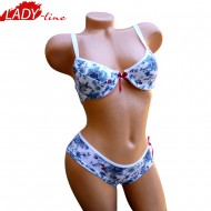 Flowers, Lenjerie Intima Set, Sutien Push-Up, Chilot Brazilian, LadyLine Collection, Culoare Alb