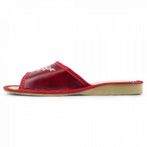 Papuci de Casa Dama din Piele, Sezon Vara, Culoare Visiniu, Model 'Akna Rogue'