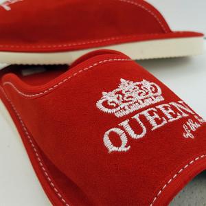 Papuci de Casa Dama, Talpa Groasa, Culoare Rosu, Model 'Queen of the House'