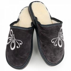 Papuci de Casa din Piele si Lana de Oaie Culoare Gri Model 'Zbor Liber'