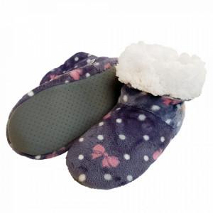 Papuci de Casa Tip Cizmulite, Happy Gray, Papuci Interior Imblaniti