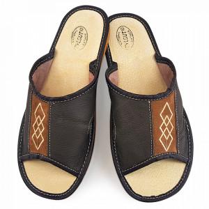 Papuci de Casa Vara din Piele Culoare Maro Model 'Diamond Shape'