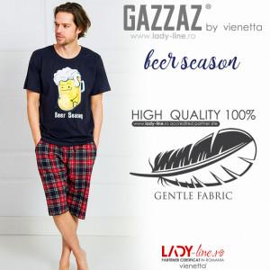 Pijama Barbati Gazzaz by Vienetta, 'Beer Season' Blue