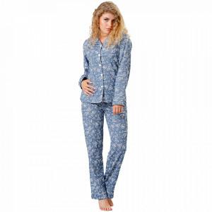 Pijama cu Nasturi Dama M-Max, Bumbac 100%, 'Blue Rose'