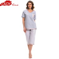 Pijama Dama Marimi mari, Material Bumbac 95% si 5% Polyester Prime Quality, Model 'Touching The Sailor', Brand DN NightWear, Culoare Gri, Pijamale Polonia