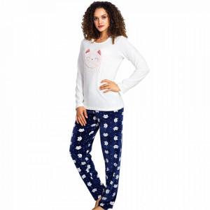 Pijama Dama Soft Velur Vienetta Model 'Cute Kitty' White