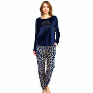 Pijama Dama Soft Velur, Vienetta, 'Wild Life' Blue
