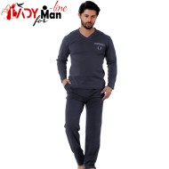 Pijamale Barbati, Bumbac Interlock, 'Triton' Gray, Falkom
