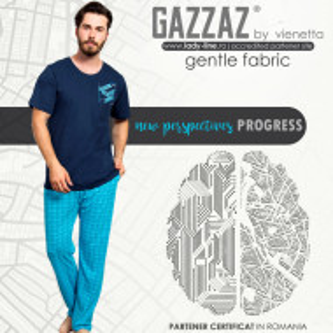 Pijamale Barbati din Bumbac 100% Gazzaz by Vienetta 'New Perspectives - Progress'