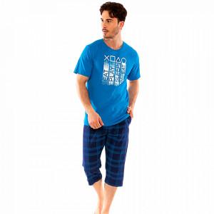Pijamale Barbati Gazzaz by Vienetta, Model 'Eat Play Sleep Repeat' Blue