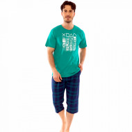 Pijamale Barbati Gazzaz by Vienetta, Model 'Eat Play Sleep Repeat' Green