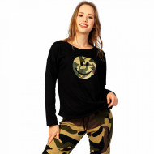 Pijamale Confortabile Dama din Bumbac Vienetta Model 'Happy Camouflage'