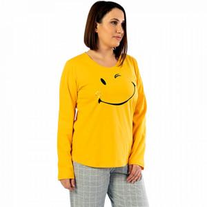 Pijamale Confortabile Dama Marimi Mari Vienetta Model 'Smile Today' Yellow