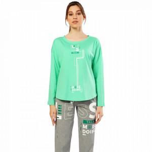 Pijamale Confortabile Dama Vienetta Model 'Less Talk' Culoare Verde