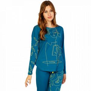 Pijamale Confortabile din Bumbac Vienetta Model 'Poeme' Culoare Verde