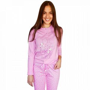 Pijamale Dama Bumbac Natural, Senso, 'Love Much Live Well' Pink