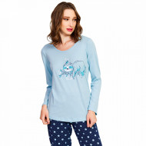 Pijamale Dama Bumbac Vienetta, Model 'Lets Just Sleep' Blue