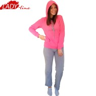 Pijamale Dama Calduroase Maneca Lunga, Model Welcome, Producator Benter Fashion Wear, Material Micropolar, Culoare Fuchsia/Gri, Pijamale Calduroase Dama Maneca si Pantalon Lung