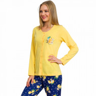 Pijamale Dama cu Nasturi din Bumbac Vienetta Model 'Lemon Girl Power' Yellow