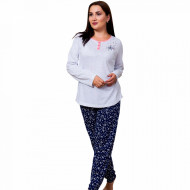Pijamale Dama din Bumbac Marimi Mari Vienetta Model 'Music is My Life' Gray