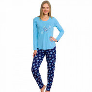 Pijamale Dama din Bumbac Vienetta Model 'Turtley Awesome' Blue
