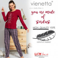 Pijamale Dama din Bumbac Vienetta Model 'You are Made of Stardust'