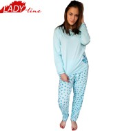 Pijamale Dama Maneca Lunga, Model Blue & Bright Flowers, Producator Dehai-T, Bumbac 100%, Culoare Albastru, Pijamale Dama Maneca si Pantalon Lung